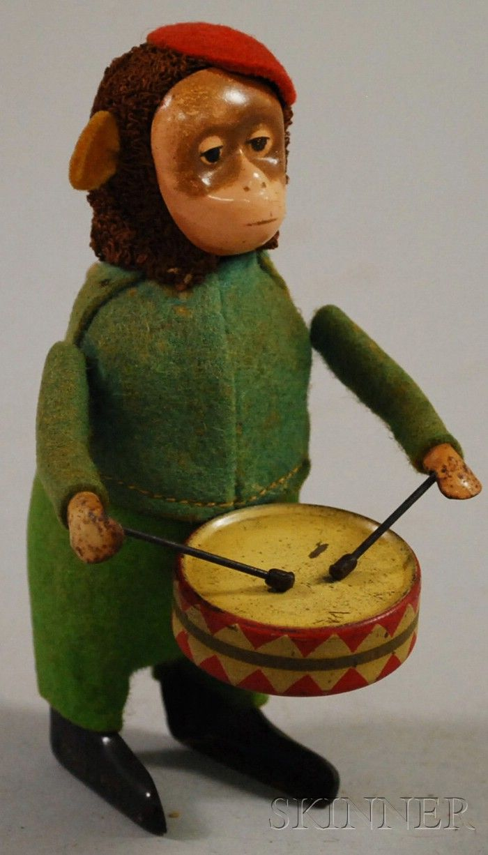 Schuco German Tin Wind-up Monkey Drummer Toy. | Sale Number 2530M, Lot Number 1165 | Skinner Auctioneers