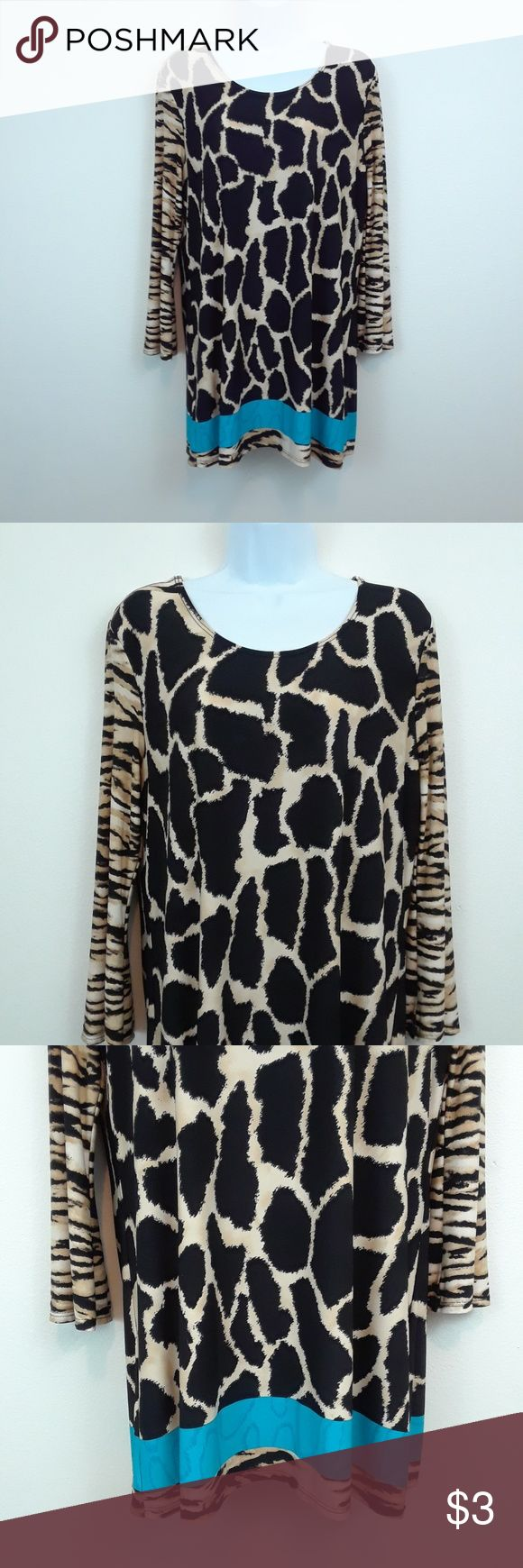 PECK & PECK L ANIMAL PRINT LONG SLEEVE TUNIC DRESS Size large  Wide sleeves Cheetah and zebra animal print with blue accent stripe at hem. 95% polyester 5% spandex Peck & Peck Dresses Midi