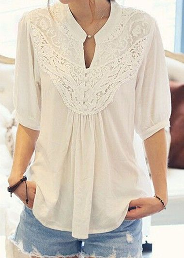 White Half Sleeve Lace Crochet Panel Blouse