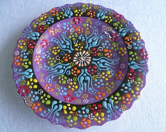 "Purple Salad Plate, Turkish ceramic, 7"" plate, Raised Floral, side plate, desert plate, purple, birthday present, wall art"