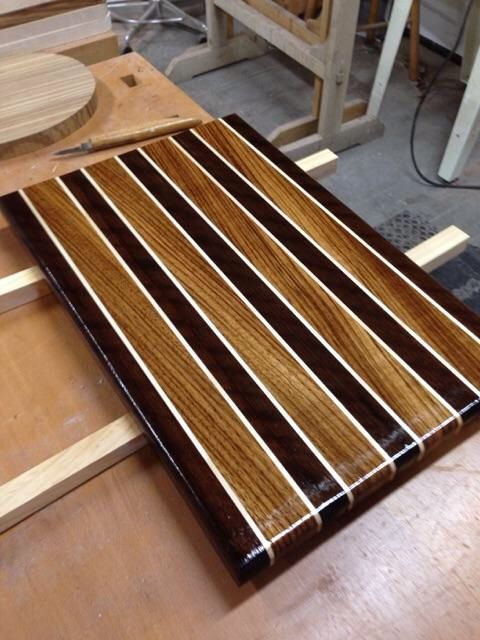 Cutting board English brown walnut, zebra wood and rock maple. Made by Ron Bracy