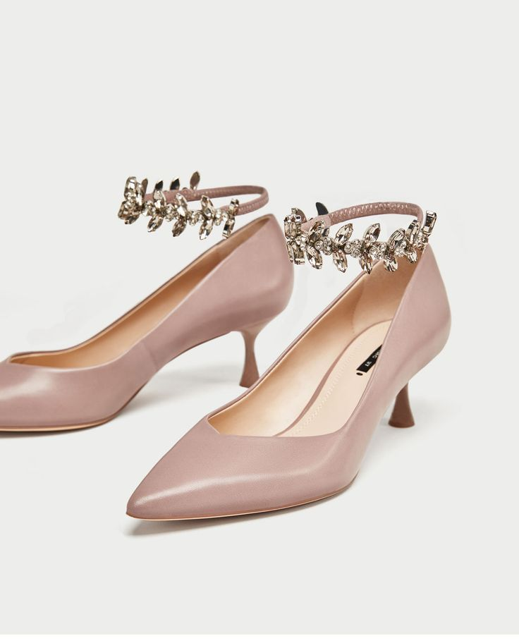 Image 5 of KITTEN HEEL SHOES WITH BEJEWELLED STRAPS from Zara