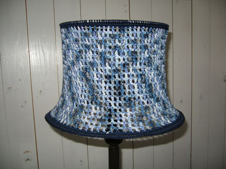 A crochet lampshade