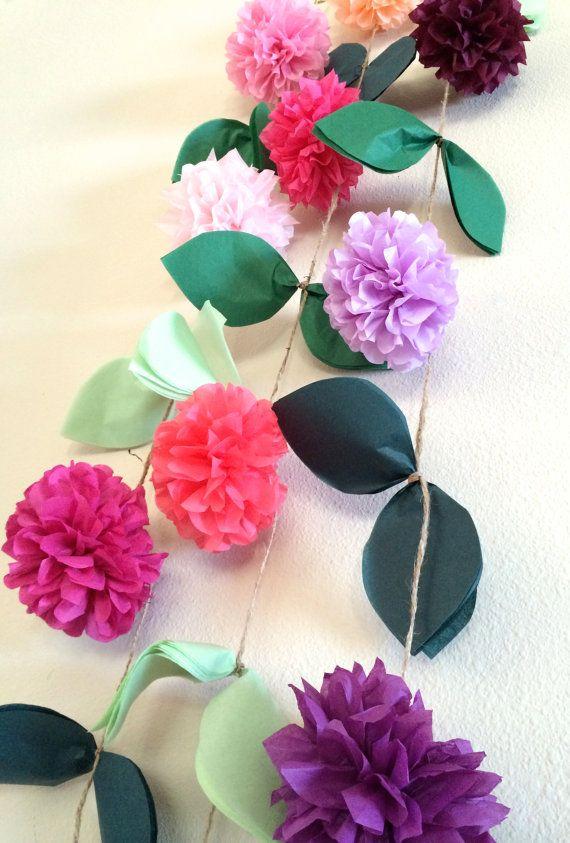Flower vine garland diy tissue paper pom pom garland for Do it yourself pom poms