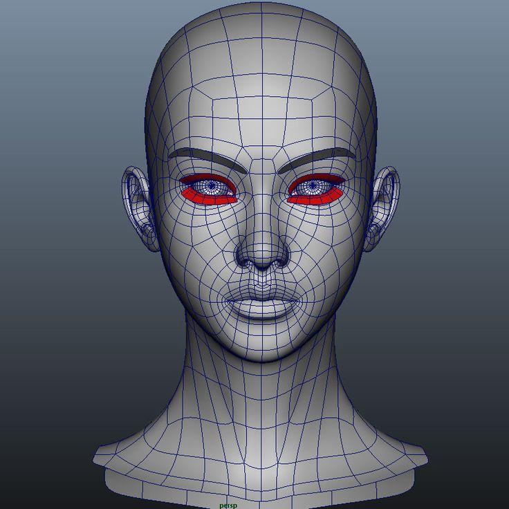 3d girl head model Modélisation 3d, Topologie, Modélisation