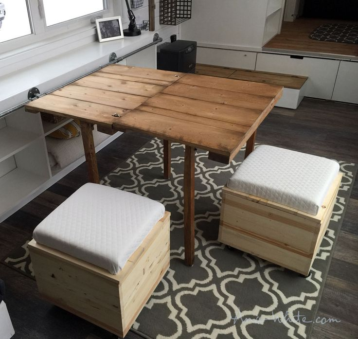 Ana White | Sliding Door Console with Fold Up Tables for Tiny House - DIY Projects https://youtu.be/lHjJd4tkvSU