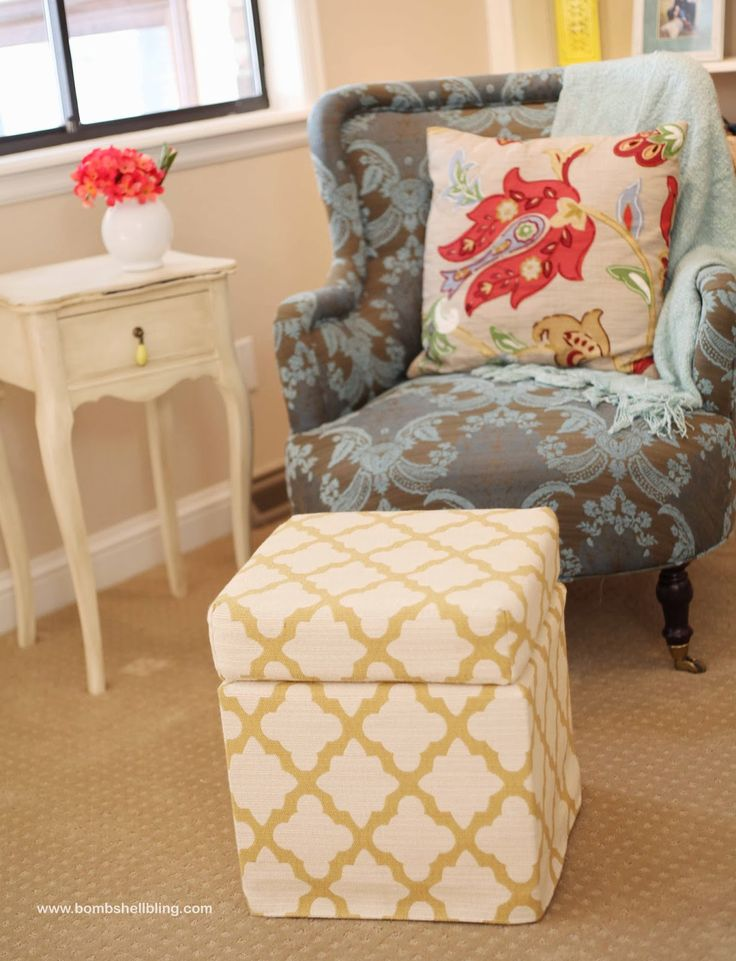 From ikea footstool to custom made storage ottoman tutorial material ikea solsta pallbo - Ikea hack storage ottoman ...
