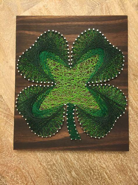 Four leaf clover string art
