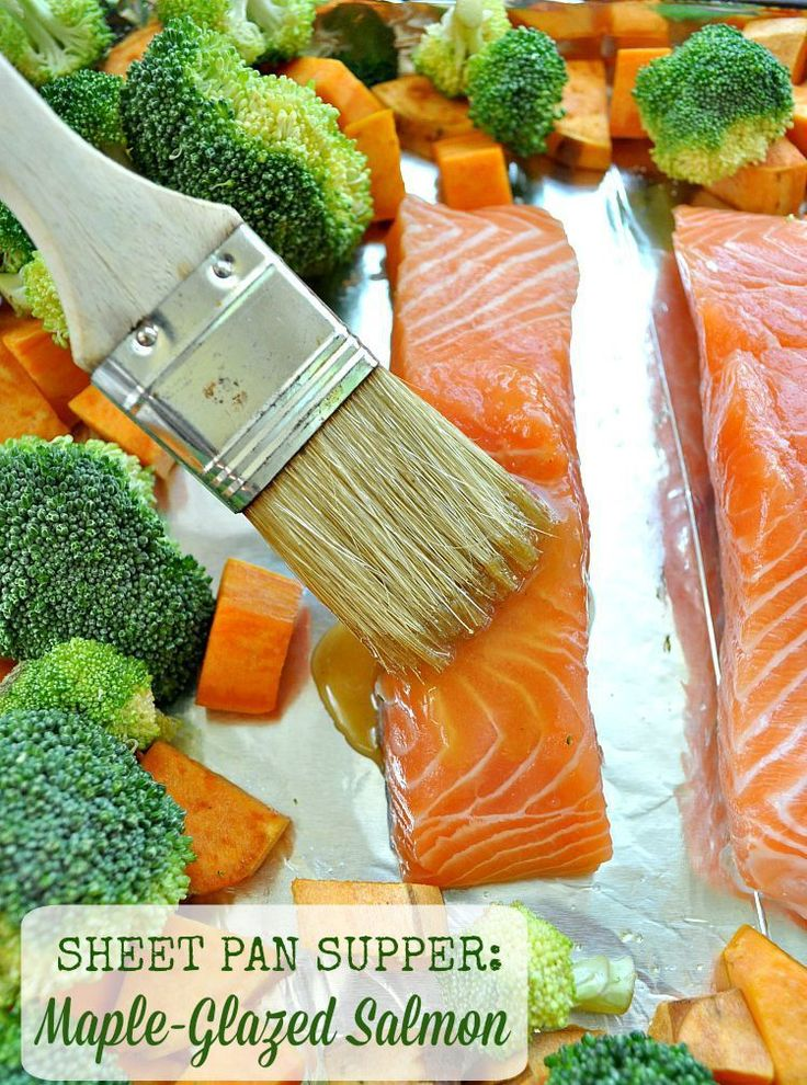 Sheet Pan Supper: Maple-Glazed Salmon with Sweet Potatoes and Broccoli - The Seasoned Mom