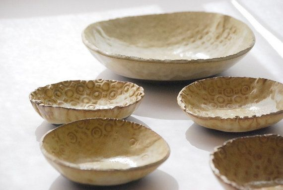 serving  bowls white vanilla rustic set of  MADE TO by claylicious, $58.00