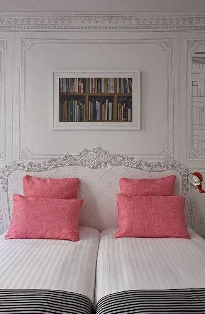 CABECERAS PINTADAS - PAINTED HEADBOARD : Dormitorios: Fotos de dormitorios Imágenes de habitaciones y recámaras, Diseño y Decoración