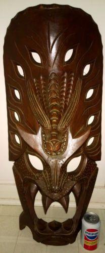 Huge Vintage Carved Wood Ifugao Dragon Tribal Mask