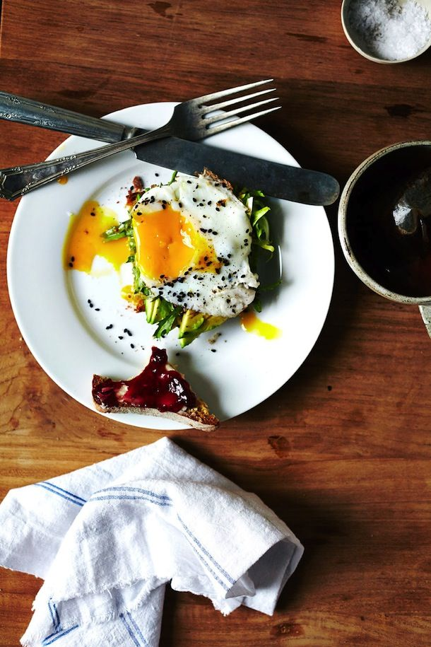 Morning Meals :: Avocado Toast with Egg & Frisee, by Julia Gartland.