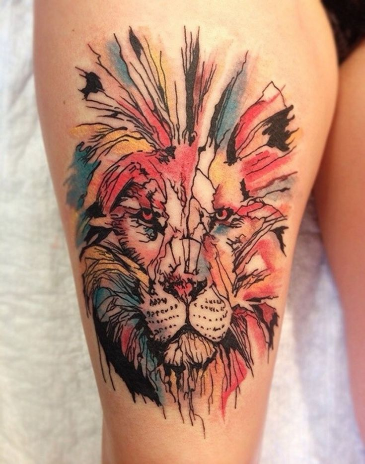 Lion face tattoo on leg for lady Lion tattoo design