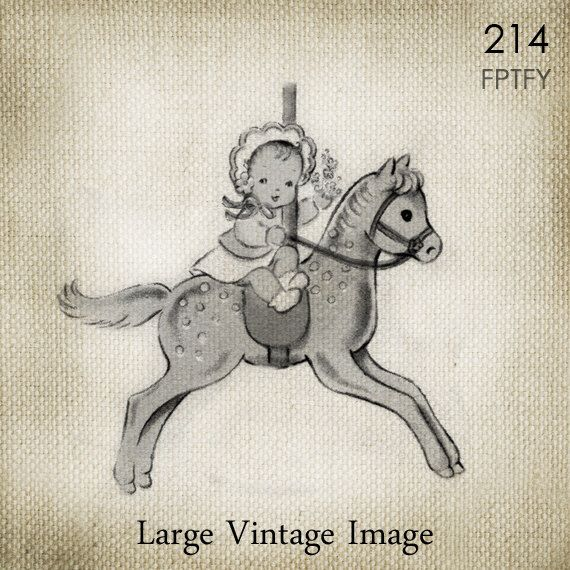 Sweet Vintage Baby Girl on Carousel LARGE Digital Vintage Image Download Sheet Transfer To Totes Pillows Tea Towels T-Shirts  214 by ptfy on Etsy https://www.etsy.com/listing/183606358/sweet-vintage-baby-girl-on-carousel