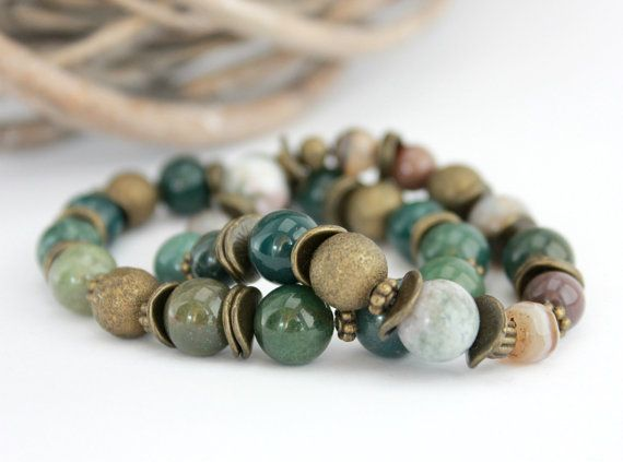FREE SHIPPING Agate Gemstone Stretch Bracelet  by LovekaHandmade, $42.00