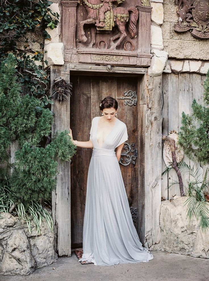 Bridal in pale blue/gray gown   Bridal inspiration shoot at old world castle   itakeyou.co.uk