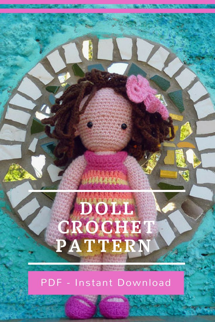 Doll Crochet Pattern  This PDF tutorial comes with: - Pattern instructions in American Standard Terms  - 31 pages full of photos step by step tutorial to make entire body and mount final doll and hair! - Plus text instruction to make: dress, panties, mary janes shoes and bow!  Stitches used in this tutorial: - Slip ring - Slip Stitch - Chain - Single Crochet  - Half Double Crochet  - Double crochet #diy #amigurumi #ad