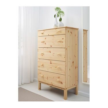 IKEA TARVA chest of 5 drawers Made of solid wood, which is a hardwearing and warm natural material.
