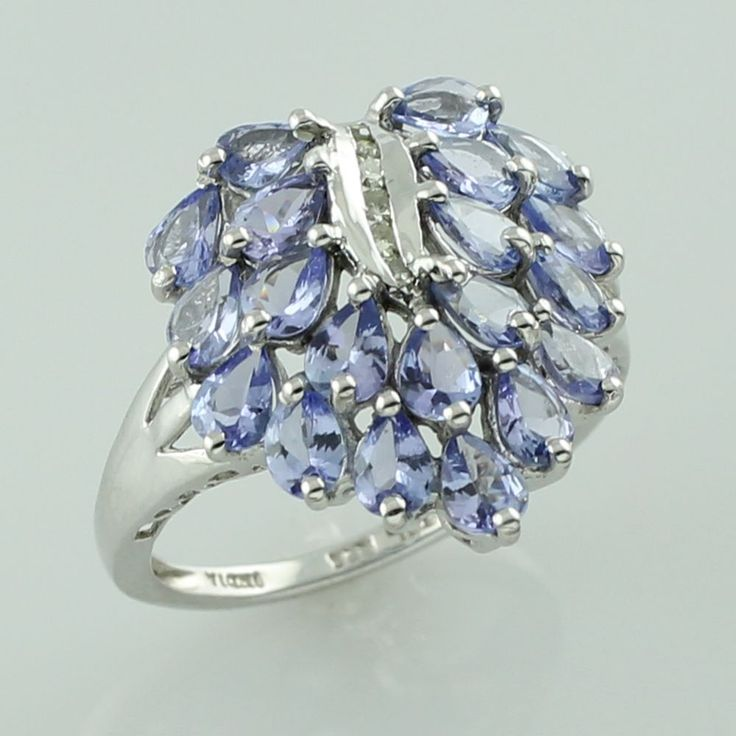 Tanzanite Ring December Birth Stone 925 Sterling Silver Top Diamond Jewelry #SGL #ExclusiveCollection
