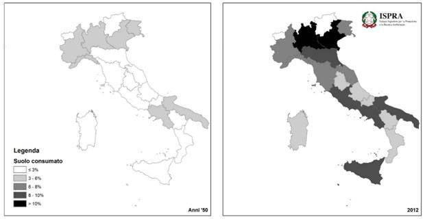 DICIAMO BASTA al CONSUMO di SUOLO  L'immagine mostra la differenza di suolo consumato in Italia tra gli anni 50 ed il 2012.