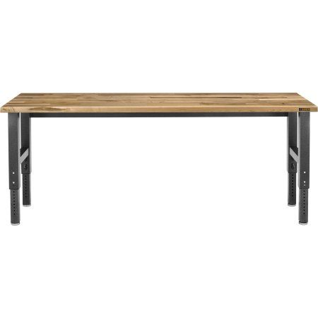 Gladiator 8 ft. W Adjustable Height Workbench in Hammered Granite with Hardwood Top, Red