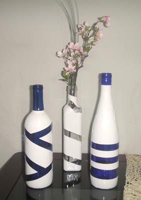 Garrafas de vinho recicladas com pintura