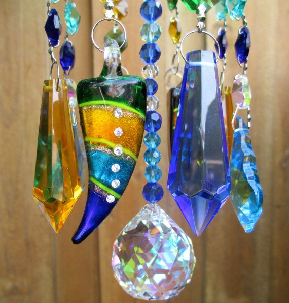 Crystal Wind Chime Blue Chandelier Crystals Windchime