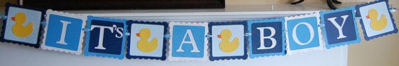It's A Boy Banner Baby Shower Banner Rubber Duck by GiggleBees, $14.00