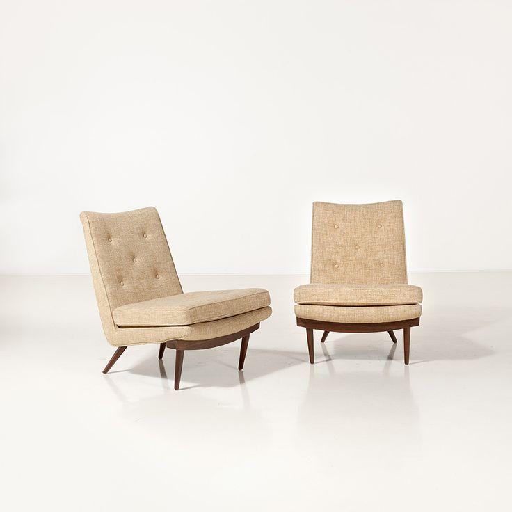 George Nakashima; Walnut Lounge Chairs, c1950.