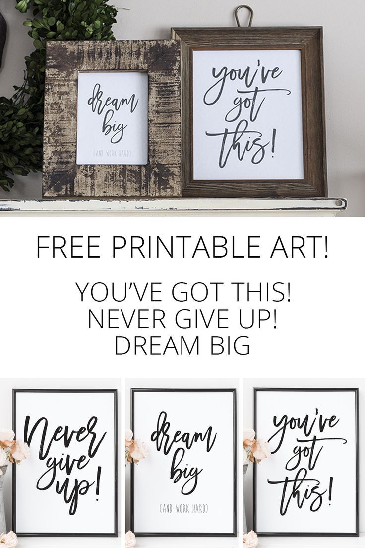 Free Printables - Dream Big, Never Give Up, You've Got This! Encouragement for you - hang it over your desk or anywhere you need the reminder that you can do it! via @akadesigndotca