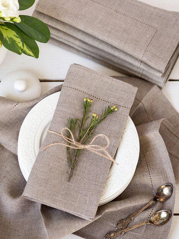 Rustic Napkins With Hemstitch Made From Natural Linen Linen Weddingnapkins Dinnernapkins Springtabledecor Rustic Napkins Rustic Linen Spring Table Decor