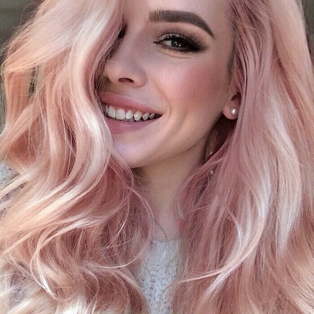 Blonde base with gold/rose gold and pastel pink tones