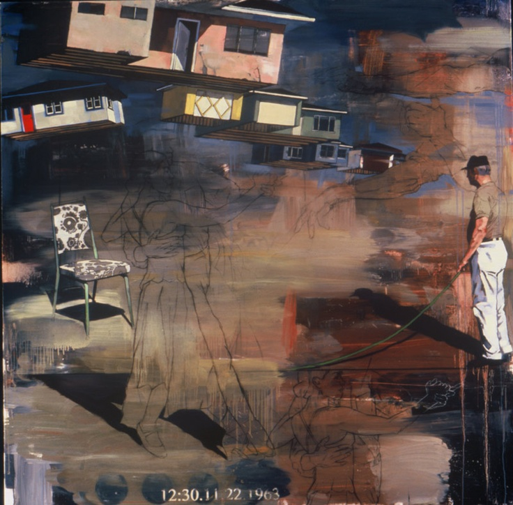 "Douglas Schneider. Where Were You. Oil on canvas, 60 x 60""."