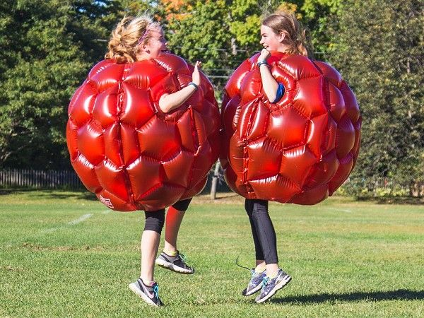 Bounce, bump, and run into stuff wearing these inflatable suits. Fun for fitness and friendly competition.