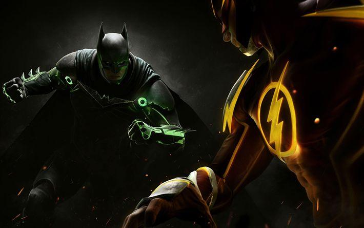 Download wallpapers Injustice 2, 2017, 4k new games, batman, superheroes, flash, DC Comics