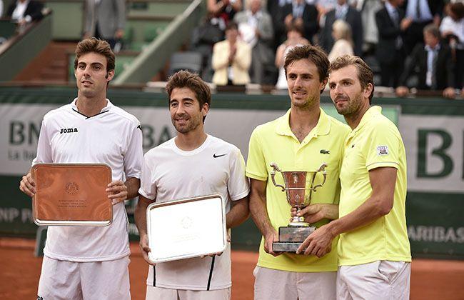 Marcel Granollers, Marc Lopez, Edouard Roger-Vasselin et Julien Benneteau posent pour la postérité.