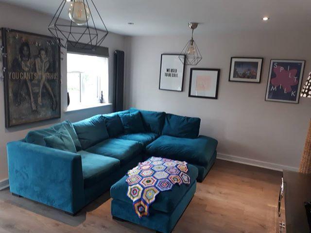 Wadenhoe Teal Velvet Corner Sofa And Mathching Footstool Corner Sofa Teal Corner Sofas Furniture