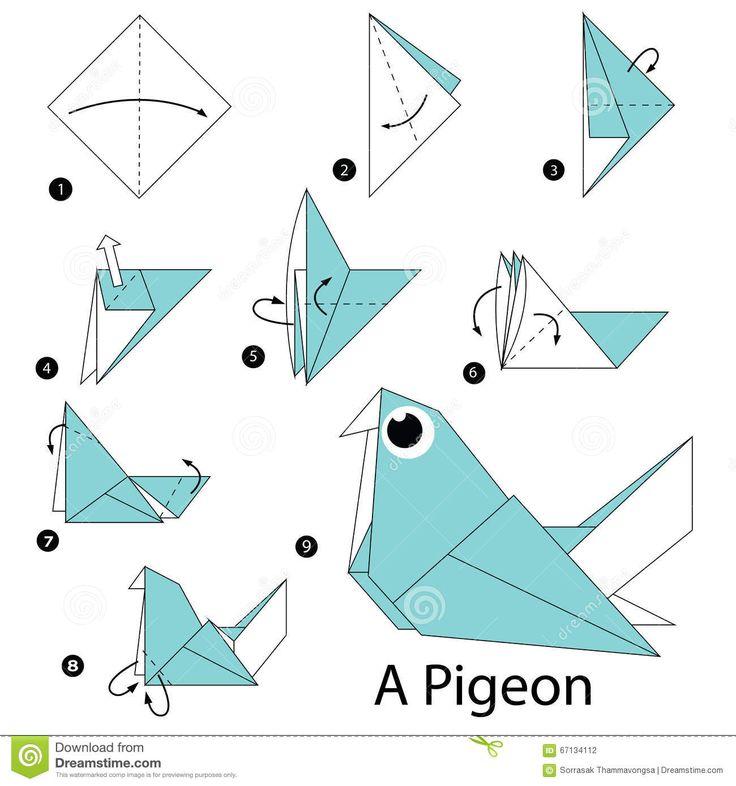 Instructions étape-par-étape Comment Faire à Origami Un Pigeon - Télécharger…