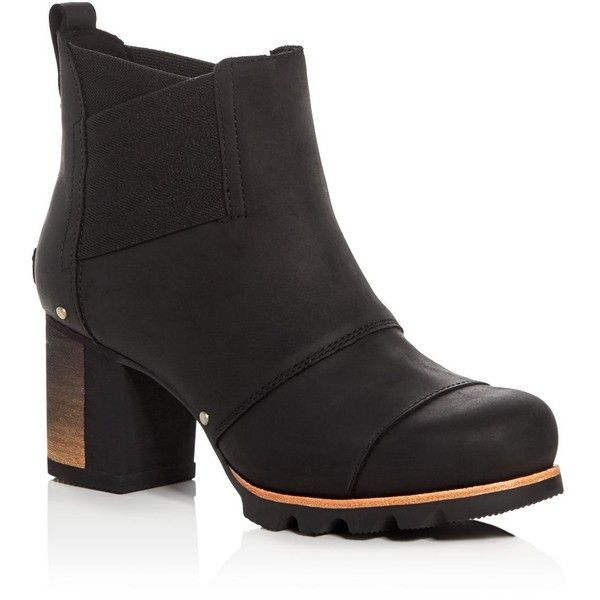 Sorel Addington Chelsea Boots ($210) ❤ liked on Polyvore featuring shoes, boots, black, black shoes, chelsea ankle boots, sorel, sorel boots and black chelsea boots