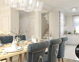 Klasyczna forma dla eleganckiej kobiety - Średnia otwarta jadalnia w salonie, styl klasyczny - zdjęcie od Monostudio Wnętrza