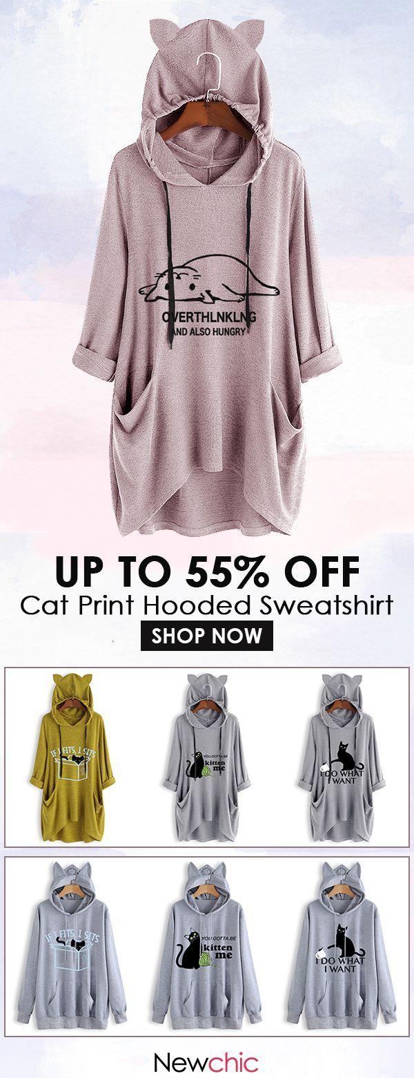 Cat Ear Print Lying Cat Hooded Sweatshirt.