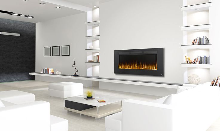 "This electric fireplace doesn't invade your space at only 5"" deep, instead it adds luxury where traditional fireplaces can't go, and it can even be fully recessed for even more clearance."