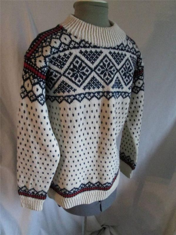 Audhild Vikens Vevstove s M Handmade in Norway Ivory Red Black Wool Sweater | eBay