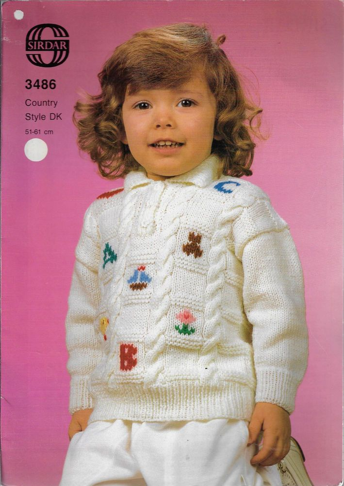 51c138ab18d1 Toddler   Child Picture Knit Sweater Sirdar 3486 knitting pattern DK ...