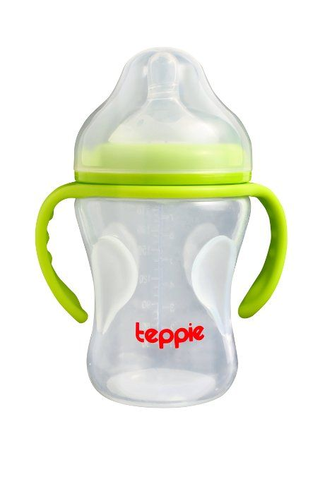 Temperature Sensitive Silicone Baby Bottle from Teppie, BPA free, dishwasher, freezer and microwave safe, includes detachable handle, enhance Baby's feeding experience NOW!