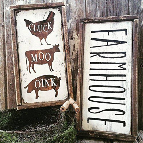I would say these have to be our fav! Can't get enough of the farmhouse style lately. Adorable FARMHOUSE & CLUCK, MOO, OINK rustic wood signs design ...