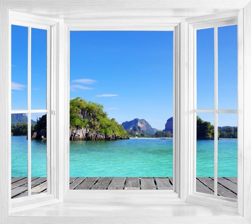 details about wim151 tropical thailand sea view wallpaper window frame illusion wall sticker. Black Bedroom Furniture Sets. Home Design Ideas