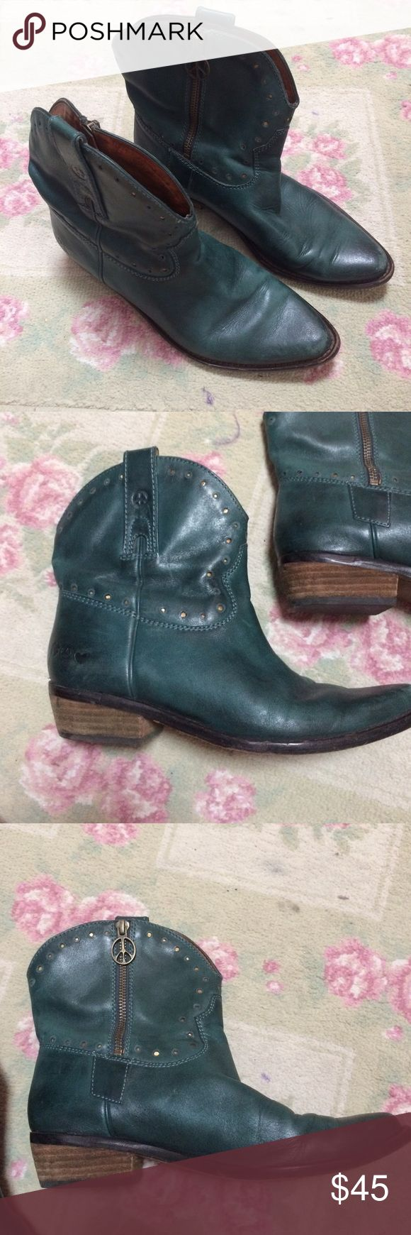 """Luck Brand Ankle Cowboy Boots These are a dark green color. They are so cute, I just wish I wore them more. They have a zipper and a 1"""" heel. They have been worn, but are in really great shape. Lucky Brand Shoes Ankle Boots & Booties"""