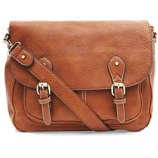 Brown Soft Stitch Trim Satchel found on Polyvore featuring bags, handbags, accessories, purses, sac, tan, satchel purse, satchel handbags, faux leather satchel and brown satchel